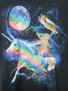 Unicorn Cat Moon Mens T Shirt Size L Crew Neck Hippie Fantasy Rainbow Black