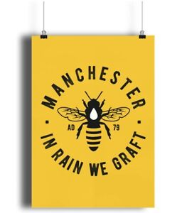 A4 Manchester Bee - Portrait Wall Art Print