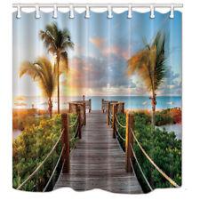"Waterproof Fabric Bathroom Shower Curtain & Hooks Wooden Bridge Palm Tree 71*71"""