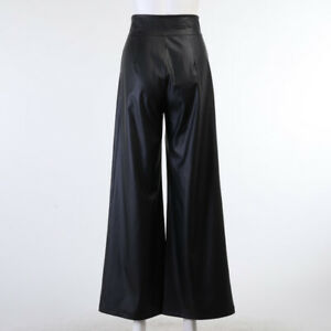 Lady Faux Leather PU Pants Trousers Long Wide Leg High Waist Loose Black Casual