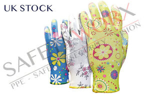 Pack of 3 Pairs of PU Coated Household Work Gardening Protective Gloves PPE