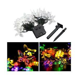 LEDMOMO 20 LEDs Solar String Lights LED Butterfly Fairy Light Waterproof 4.5m...