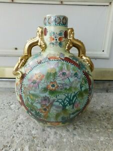 OLD CHINESE VASE WITH GOLD LIZARD HANDLES