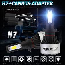 NIGHTEYE H7 9000LM 72W COB LED Auto Headlight Kit Bulbs 6500K w/Canbus Adapter