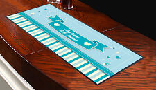PERSONALISED BLUE BABY SHOWER DESIGN BAR RUNNER MUM TO BE GREAT GIFT IDEA