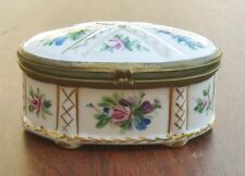 Signed Alonso 19th Century French Handpainted Trinket or Ring Box Floral Design