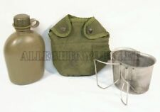 NEW STAINLESS CANTEEN CUP w/ VGC USGI Military 1QT OD PLASTIC CANTEEN & COVER