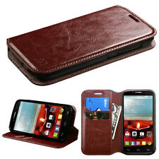 BW Leather Wallet Card Holder Case Cover Flip Pouch for ALCATEL Fierce