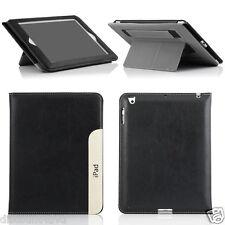 Negro ultraelegante PU Soporte Piel Funda Protectora para iPad 2 3 4 / aire /