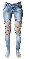 New Womens Ladies Celeb Stretch Ripped Skinny High Waist Denim Pants Jeans 6-12