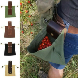 Outdoor Leather And Canvas Bushcraft Foraging Pouch Bag For Hiking Picking Tool