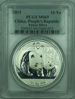 2011 China Silver Panda 1 Oz 999 10 Yuan Coin PCGS MS-69 (F)