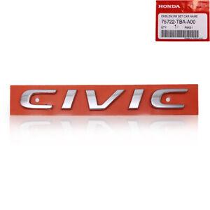 For Honda Civic FC Sedan 2016 2019 20 Rear Logo Civic Chrome Decal Trim
