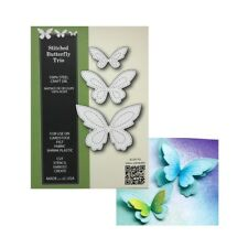Stitched Butterfly Trio metal dies Poppystamps cutting die set 1798 insects