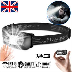 2XWaterproof Head Torch Headlight LED USB Rechargeable Headlamp Fishing Running