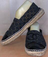 Chanel Black Patent & Fabric CC Logo Double Sole Women's Espadrilles Flats Sz.42