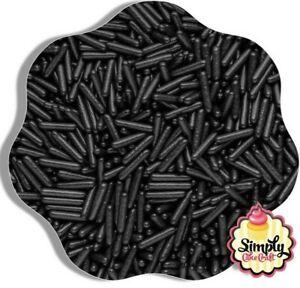 Edible Black Macaroni Rods Cupcake Cake Sprinkle Topper Decoration 50g