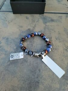 "Mens Genuine Sodalite & Red Tiger Eye Stainless Steel Blackjack Bracelet 8.5"""