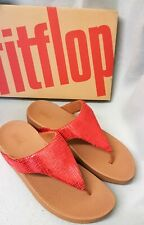 Fitflop Lottie Chain Print Adrenaline Red Toe Thong Post Sandals Ladies Box Sz 5