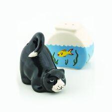 Cat and Fish-Bowl Ceramic Salt and Pepper Shaker Set