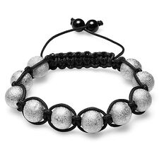 Shamballa Bracelet Unisex Hip Hop Ten Silver Tone Frosted Ball Bead Adjustable