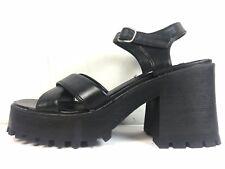Vtg 90s LEI L.E.I. Black FAUX LEATHER VEGAN Platform 8 Chunky Sandals Heels Lug