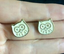 2pair Charms Owl rectangle Stud Earring Cute eye white Fashion Trendy For women