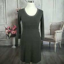 Maggie London Women's Knit Sweater Party Cocktail Dress Gray Medium Petite NWT