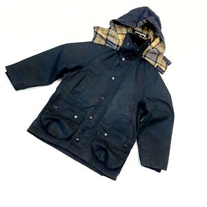 Children's Classic Beaufort Waxed Navy Blue Hooded Jacket Size S
