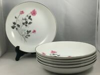 "Set of 6 Arita China Japan Pink Rose Flower 7 3/4"" Coupe Cereal Soup Bowls"