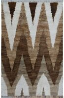 6x9 Thick-Plush Chevron Moroccan Shaggy Hand-Knotted Area Rug Wool Modern Carpet