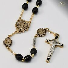 St. Benedict Gold Plated Rosary w/ Black Wood Beads Made in Italy