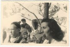 1953 French Real Photo Postcard of Pretty Woman Drinking Under Trees -Autumn
