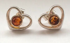 Small Heart 925 Sterling Silver Ear Rings Stud Simple Butterfly Love Cute Amber