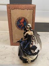 Gothic Fairy Statue-Raven Fairy Sitting On Orb By Nene Thomas Sculpture Art