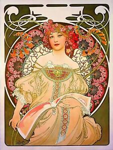 Beautiful Woman Vintage French Nouveau France Poster Mucha Art Print (Reverse)