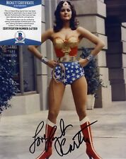LYNDA CARTER WONDERWOMAN SIGNED AUTOGRAPHED 8X10 COLOR PHOTO BAS BECKETT COA