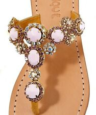 NIB Sz 9 MYSTIQUE Rhinestone Jeweled CRYSTAL Gold Pink Sandals Flip Flops $205