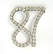 Number 87 Vintage Pin Silver Tone and Clear Crystal
