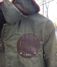 Vintage WWII USAAF US ARMY AIR FORCE B-15 Flight Flying W/leather Patch Jacket.