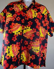Hawaii Aloha Shirt HAWAIIAN TROPIC Size LG Red/Orange/Yellow Hawaiian Tropic