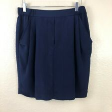 3.1 PHILLIP LIM Silk Skirt Navy Blue Elastic Waist Tulip Shape Navy Blue 10