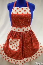 RETRO VINTAGE 50s STYLE FULL APRON / PINNY - CHRISTMAS STOCKINGS / POLKA DOT TRI