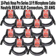 10-Pack Hosa Pro Series 10 ft XLR Microphone Cable Neutrik REAN Connectors HMIC