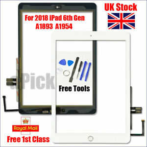 For 2018 iPad 6th Gen A1893 A1954 Touch Screen Digitizer Replacement + IC White