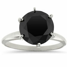 4ct 14k White Gold Round Cut AAA Black Diamond Solitaire Engagement Ring