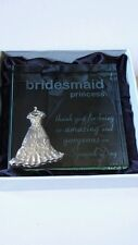 Bridesmaid 'Princess' Thank you Gift. Engraved Glass Paperweight. Brand New.