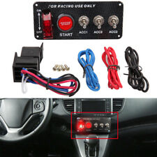 12V Racing Car LED Toggle Ignition Carbon Switch Panel Engine Start Push Button