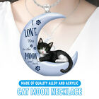 Exquisite Cute Black Cat Crescent Moon Pendant Chain Necklaces Jewelry Gift Us