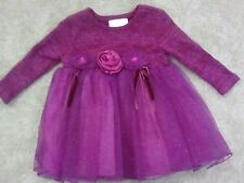 Baby girl pink and purple dress with diper cover Bonnie Baby size 12M